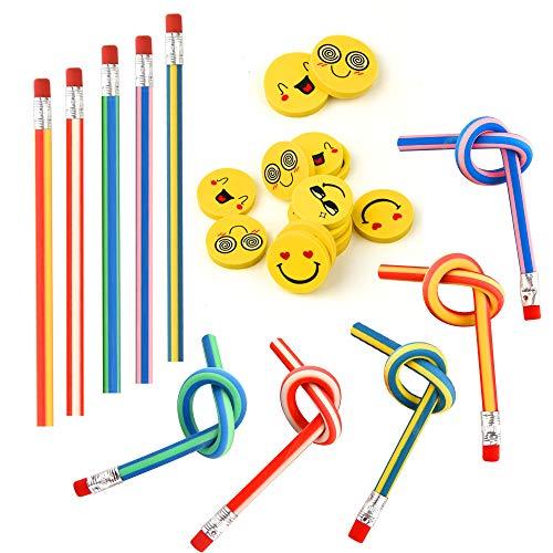 FEPITO 62 Pcs Kids Party Bag Füller Set, Weiche Flexible Bendy Bleistifte und Emoji Lächeln Radiergummis Magie Bend Spielzeug Schule Spaß Stationäre Ausrüstung Party Favor Supplies -