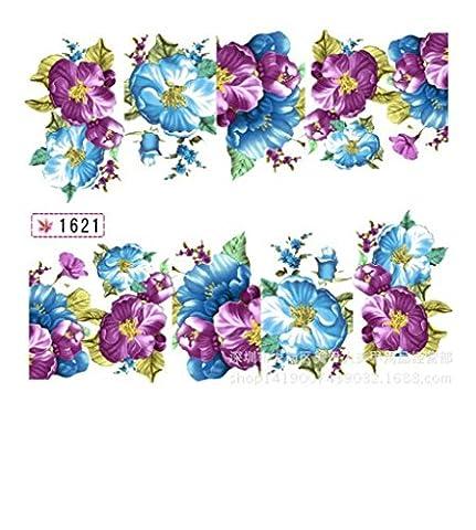 1Sheets / lot Beautiful Flower Nail Stickers eau Decal eau Transfert Nail Art Stickers