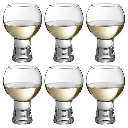 DUROBOR Alternato Lot de 6 Verres à vin à Base de Bulles à Pied Court 540 ML 0,9 x 1,3 x 0,9 cm