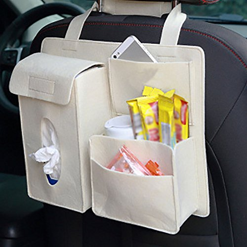gespout Wolle Filz Aufbewahrung Garbage Bag Aufhängen Hinter Autositz Multifunktionelle Tasche Verwenden für Put Mobiltelefonen Snacks Papier Handtücher Getränke, Filz, violett, 32*28*8.5cm (L*W*H)