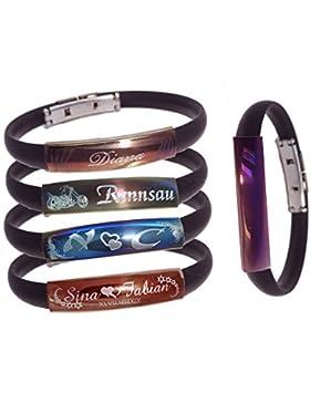 Schildarmband mit Gravur aus Edelstahl und Kautschuk - Armband, Armkette, Armreif, Armschmuck fü Sie und Ihn mit...