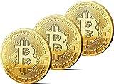 3x Physische Bitcoin Münze mit 24-Karat Echt-Gold überzogen. Wahres Sammlerstück mit Schutzhülle, Münzkapsel + GRATIS E-Book Cryptocurrency - das Zahlungsmittel der Zukunft