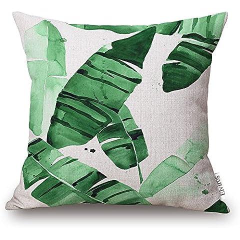 Elviros Lino y Algodón Blend Decorativo Funda de Cojínes 45x45 cm [18x18'' pulgadas] Hojas Tropicales