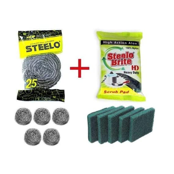 Steelo Brite New Combo Pack Of 5 Steel Scrubber And 5 HD(Heavy Duty) Scrub Pad For Kitchen Cleaning