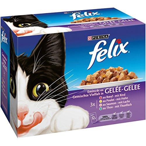 Felix Eminces en Gelee Viandes-Poissons - 12 x 100 g - Sachets repas pour Chat Adulte lot de 6