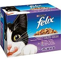 Felix Emincés en Gelée Viandes-Poissons - 12 x 100 g - Sachets repas pour Chat Adulte - Lot de 6