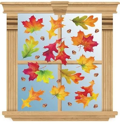 Fall Reusable Window Clings ~ Multicolor Fall Leaves and Acorns (12 Pre-cut Clings, 1 Sheet) by Amscan