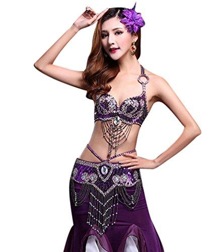 Orientalische Blättern (YiJee Damen Bauchtanz BH Set Side Split Belly Dance Lotus Blatt Edge Rock Violett L)