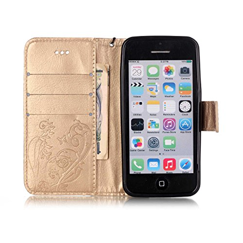 SainCat Apple iPhone 5c Custodia in Pelle,Anti-Scratch Protettiva Corpertura Caso Custodia Per iPhone 5c,Elegante Creativa Dipinto Pattern Design PU Leather Flip Ultra Slim Sottile Morbida Portafoglio Fiore di farfalla,Oro