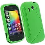 igadgitz Zweiton Grün dauerhafte Kristall Gel Skin (Thermoplastisch Polyurethan TPU) Tasche Hülle Case für HTC Explorer A310e Android Smartphone Mobile Phone Handy + Display Schutzfolie