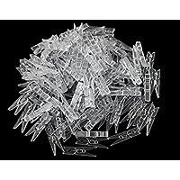 50 pcs à ressort à suspendre Clips Pinces à linge plastique Line Clips Mini papier photos Clip Pinces à linge Clip Cintre Clips (clair)