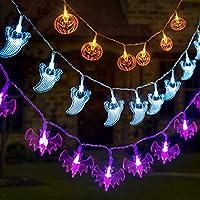 GIGALUMI Halloween String Lights Battery Operated Skull Pumpkin Bat Ghost Halloween Lights Decoration for Halloween, Christmas, Party