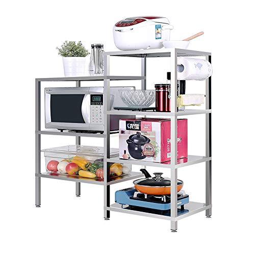 MLQ Küchenregal Utility Storage Shelf Mikrowellenständer 4-Tier + 3-Tier-Regal, hohe Kapazität, zum Speichern von Mikrowellen, Gemüse, Obst, 98 * 38 * 96Cm - Warenkorb Tier Küche Drei