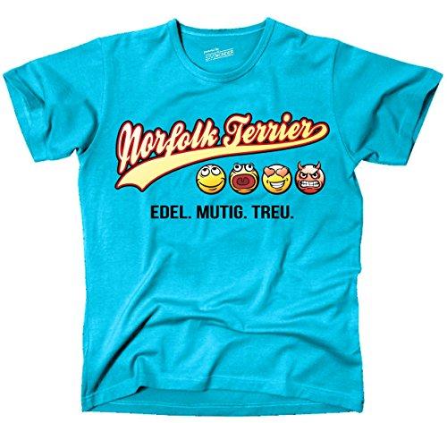 Siviwonder Unisex T-Shirt NORFOLK TERRIER - OLD SCHOOL SCHRIFT Hunde Türkis