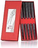Nisi Sticks Premium Ess-Stäbchen 5er Set | Chopsticks in edlem schwarz | Asiatisches Geschirr für Sushi oder Reis-Gerichte | + Gratis E-Book mit tollen Sushi-Rezepten