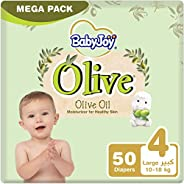 BabyJoy Olive Oil, Size 4, Large, 10-18 kg, Mega Pack, 50 Diapers