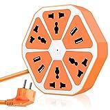 Coolden® Schaltbare 4 Fach Steckdosenleiste Mehrfachsteckdose mit 4 USB Power Strip Tischsteckdose.(Orange)