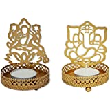 Generic Tealight Candle Holder - Laxmi Ganesha Is An Add On For Your Prayer Table, Side Table Decoration, Diwali Gift, Corporate Gift, Add On Product For Your Temple At Home, Home Decor Item - Pack Of 2
