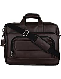 K London Dark Brown Artificial Leather Handmade Men & Women Laptop Bag Cross Over Shoulder Messenger Bag Office Bag (1102_darkbrn)
