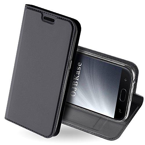 OJBKase Galaxy J4 2018 Hülle, Premium Slim PU Leder Handy Schutzhülle [Standfunktion] Hülle/Cover/Brieftasche/Ledertasche Tasche Lederhülle Handyhülle für Samsung Galaxy J4 2018 (Schwarzgrau)