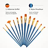 Artist Brush, LiSmile 12 Pieces Paint Nylon Brushes Set with 2 Palettes for Watercolor, Acrylic & Oil Paintings