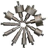 Prevently HSS-Lochsägen-Set,10PC Alloy Lochöffner Carbide Spitze TCT Lochsägen Bohrer Lochsäge Set Edelstahl Metall Legierung 16-53mm (Silber)