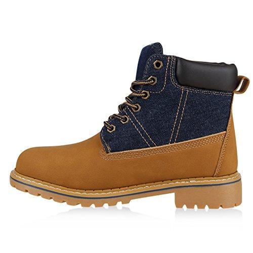 Warm Gefütterte Worker Boots Damen Outdoor Stiefeletten Robust Denim Hellbraun