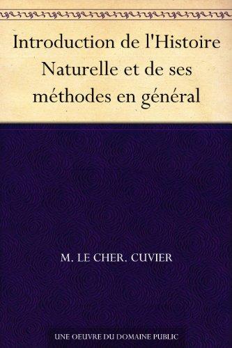 Couverture du livre Introduction de l'Histoire Naturelle et de ses méthodes en général
