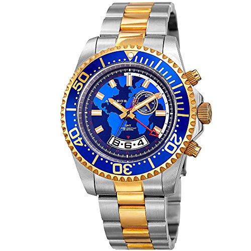 Akribos XXIV Homme Diver–Montre Multifonctions Rétrograde Date et Secondes, GMT–Or et Argent Bracelet en Acier Inoxydable Montre-Bracelet avec Cadre Bleu et Cadran–Ak955ttg