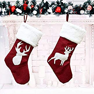 Medias de Navidad, 18″ Calcetines Decoración Navideña 2Pcs Creativa Muñeco de Peluche Colgante Bolsa para Decoraciones de Fiesta de Navidad de árbol de Navidad