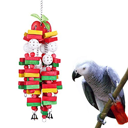 KINTOR Bird chewing Toy Large Medium Parrot Cage bite Toys African Grey Macaws Cockatoos Eclectus Amazon, Apple