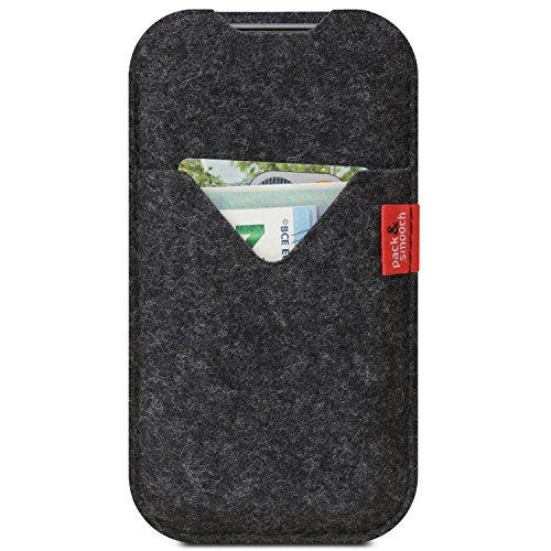 Pack & Smooch Für iPhone X/Xs Hülle, Tasche Shetland Anthrazit 100% Merino Wollfilz, Handmade in Germany