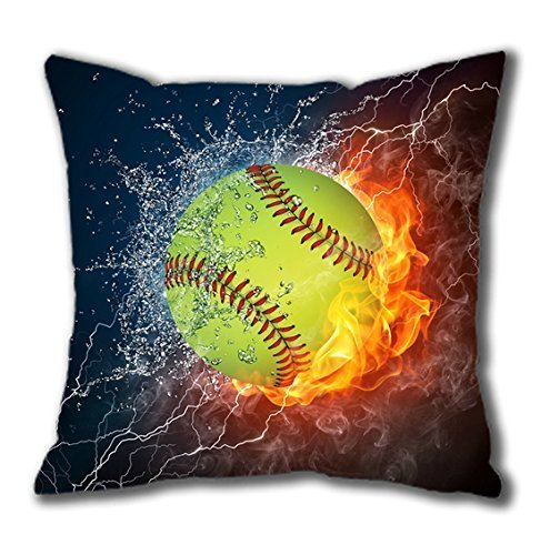 BSW House Decor Cotton Square Pillow Case You Perfect Decision Popular Softball Fire and Ice 18*18 inches