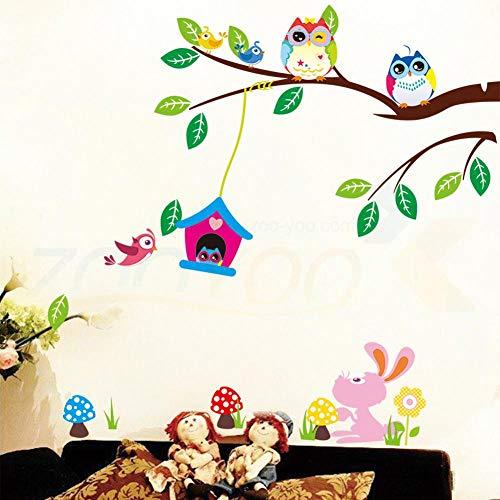 Nette Eulen, die auf Baum-Wand-Aufkleber-Ausgangsdekoration für Kinderzimmer-entfernbare Pvc-Wand-Abziehbild-Diy-Plakat spielen