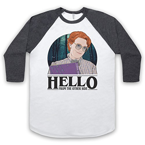 Barb Shirt (Stranger Things Barb Hello From The Other Side 3/4 Hulse Retro Baseball T-Shirt, Weis & Dunkelgrau, Medium)