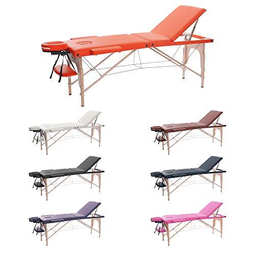 H-ROOT Mesa de Masaje de 3 Secciones Ligera Portátil Camilla de Masaje Mesa Terapeuta Tatoo Salón de Belleza Reiki Sanación Masaje Sueco (186cm x 60cm x 62cmCM, naranja)