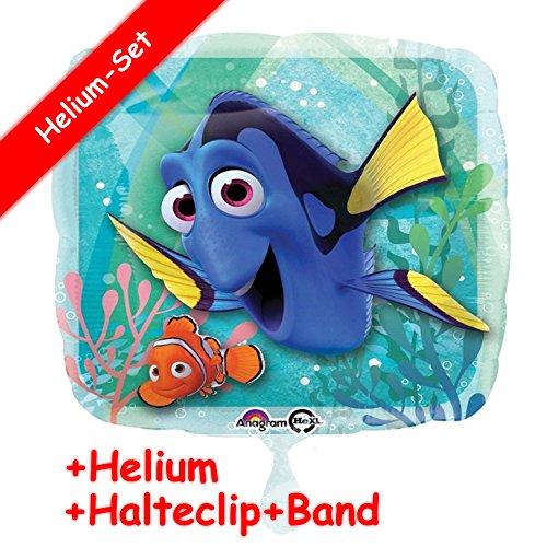 (Folienballon Set * FINDET DORY * + HELIUM FÜLLUNG + HALTE CLIP + BAND * für Kindergeburtstag und Motto-Party // Kinder Geburtstag Folien Ballon Helium Deko Ballongas Disney Pixar Findet Dorie Nemo)