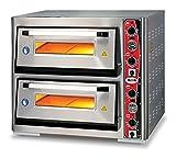 GMG Profi Pizzaofen CLASSIC LUX PF 70105 L für Gastronomie, 2 Backkammern / Doppelkammer dual - 6 + 6 x Ø 33 cm Pizzen - 67x103x15cm, bis zu 450°C (Ober- und Unterhitze getrennt regelbar), 12.000 Watt, mit Thermometer - Gastro Steinbackofen elektrisch aus Edelstahl mit Schamott-Stein / Pizzastein, XXL Einbau Grill-Ofen für Großküchen, Restaurants und Industrie