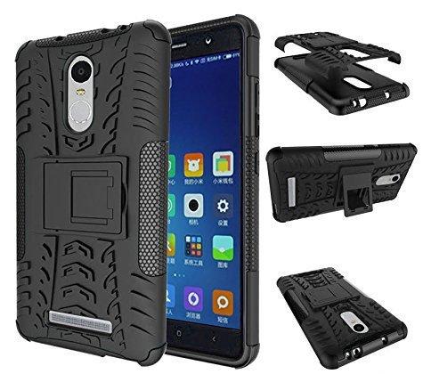 Chevron Tough Hybrid Armor Back Cover Case with Kickstand for Xiaomi RedMi Note 3 (Black)
