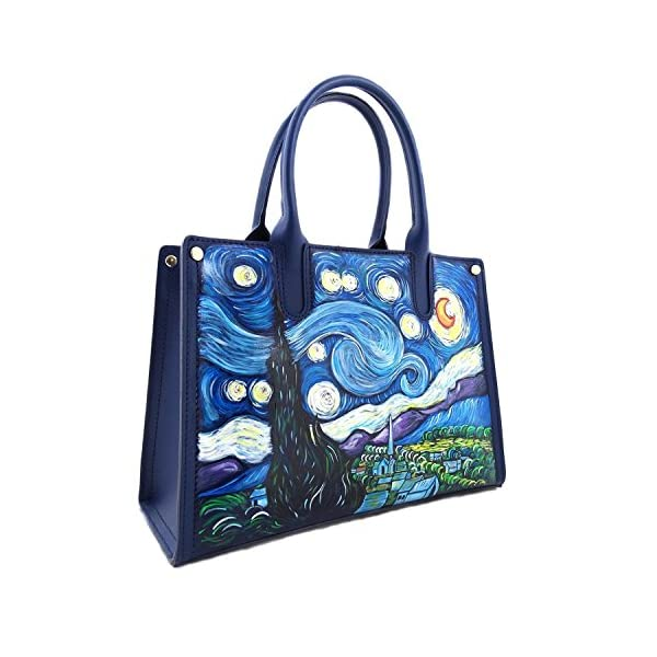 Hand-painted genuine leather shoulder bag – THE STARRY NIGHT BY VAN GOGH - Women's Bag, Hand Bag, Genuine Leather, Made in Italy, Painted Leather, Handbag and Shoulder Bags, Craftsmanship - handmade-bags
