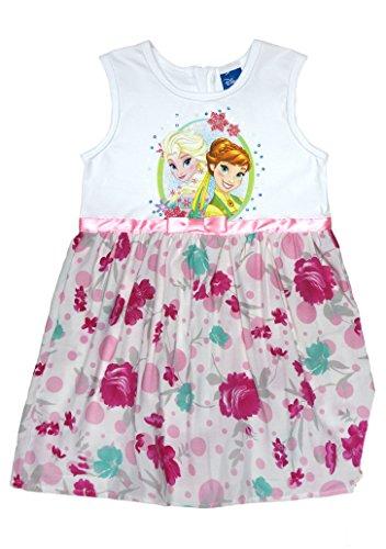 gin Mädchen Prinzessinnen-Kleid mit Blumen in Gr. 104 110 116 122 128 134 Baumwoll schön luftig FEST-Kleid mit Glitzer für 3 4 5 6 7 8 Jährig Größe 110, Farbe Weiss ()