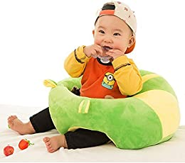 Baby Soft Plush Cushion Cotton Sofa Seat Infant Safety Car Chair Learn to Sit Stool Training Kids Support Sitting for Dining (Green & Yellow)