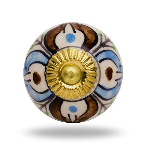 Pomello in ceramica, motivo: foglie, finitura anticata, colore: marrone Porta manopola,tira maniglia per Cassetti Armadio (Contemporanea Per Porte Scorrevoli)