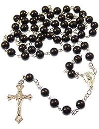 Long Black métalliques longues catholique chapelet avec notre centre Lady perles de 8mm