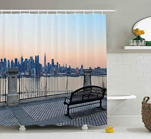 tgyew Landscape Shower Curtain, Bench in New York City Midtown Manhattan Sunset Hudsn River Skyline Scenery Photo, Fabric Bathroom Decor Set with Hooks, 72x72 inches Extra Long, Multicolor (Halloween In York City New)