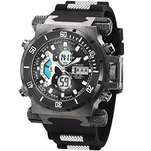 Herren Digital Sport Uhren - Outdoor Armbanduhr mit Wecker Chronograph Uhr LED Licht Digitaluhren für Herren Militärische Uhren Armband Großes Gesicht Digitale Uhren Sport-Uhr Gummi Schwarz