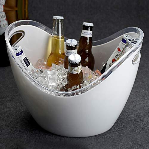MLXG Acryl Eisbehälter Mit eiszange, Transparent Kunststoff Tragbar Eiseimer, Isolierung rutschfeste Basis Wein Champagner Getränkeeimer-Weiß 8L - Kunststoff Champagner