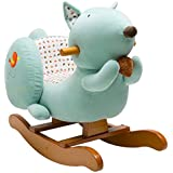 Labebe Wooden Rocking Horse for 12-36 months Baby Boys & Girls, Cute Stuffed Animal Seat with Sound Paper, Soft & Comfortable, Quality Guaranteed with CE Certified, Creative Birthday Gift