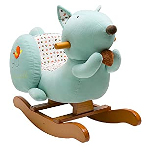 Labebe Baby Wooden Rocking Horse Blue Squirrel, Boys & Girls Toddler Rocking Ride-on Toys for 1-3 years old, Stuffed Animal Seat, ASTM/CE Safety Certified, Creative Birthday Gift