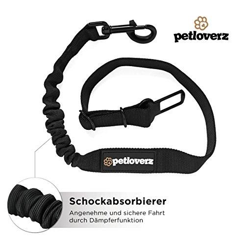 Auto Sicherheitsgurt für Hunde – elastischer Flexi Autogurt Adapter für Hundegeschirr – Verbindungsgurt – Verstellbarer Ruckdämpfer – Sicherheit – Nylon – schwarz – Petloverz - 6